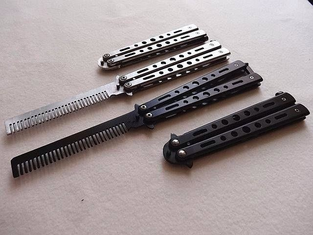 BENCHMADE/BALISONG/BUTTERFLY COMB / SISIR POMADE WARNA BLACK & SILVER