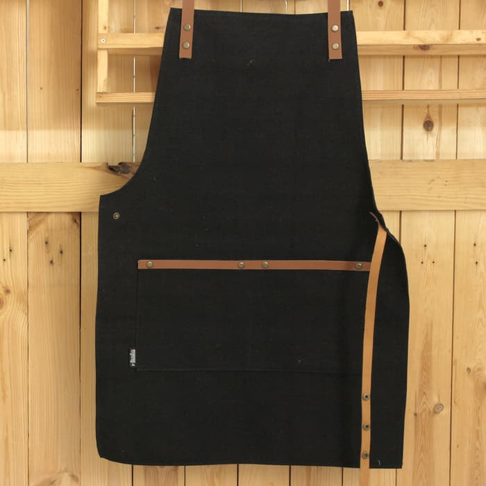 Apron Canvas and Synthetic Leather (Celemek), Barista/chef (Black) - Hitam